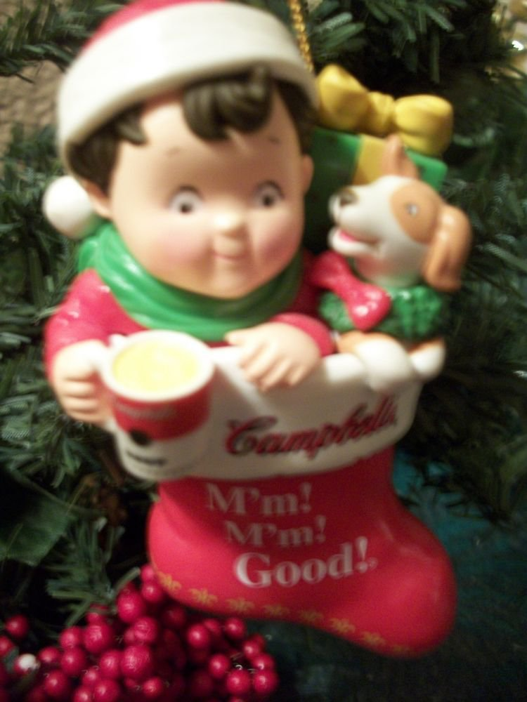 Campbells Soup Kid 2001 Advertising Collectible Christmas Ornament Boy Stocking