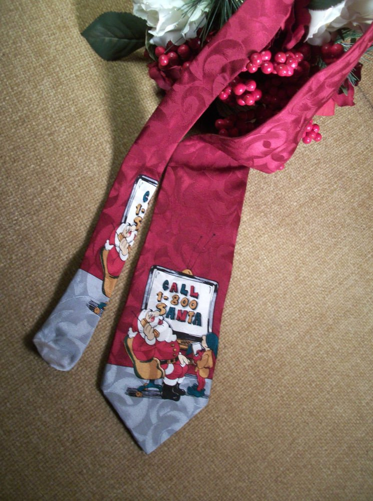 Santa Claus Takes Phone Orders Christmas Necktie Red Polyester by Essex Row