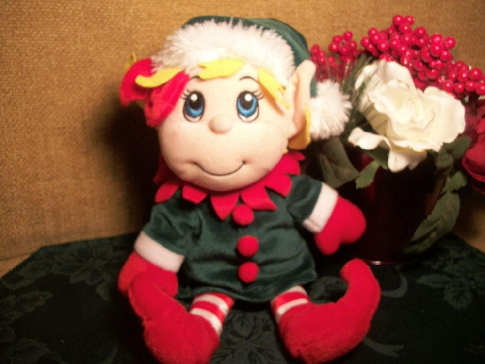 Santa's Secret Elf Girl Christmas Stuffed Plush Toy Doll Hand Puppet from Fiesta