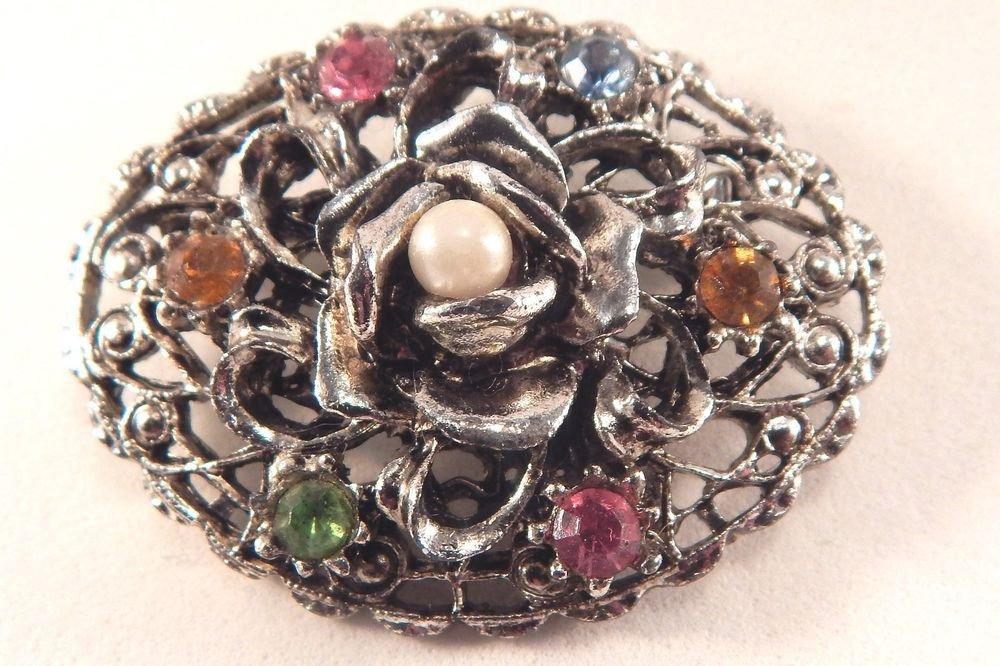 Pearl Rose Brooch Filigree Silver Metal Pin Colorful  Rhinestone Vtg Jewelry