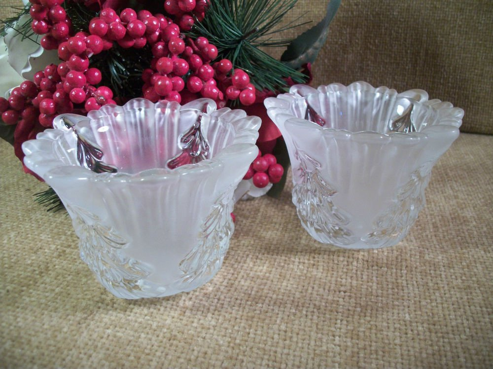 Frosted Glass Candle Holders Christmas Tree Design Scalloped Edge Vintage Decor
