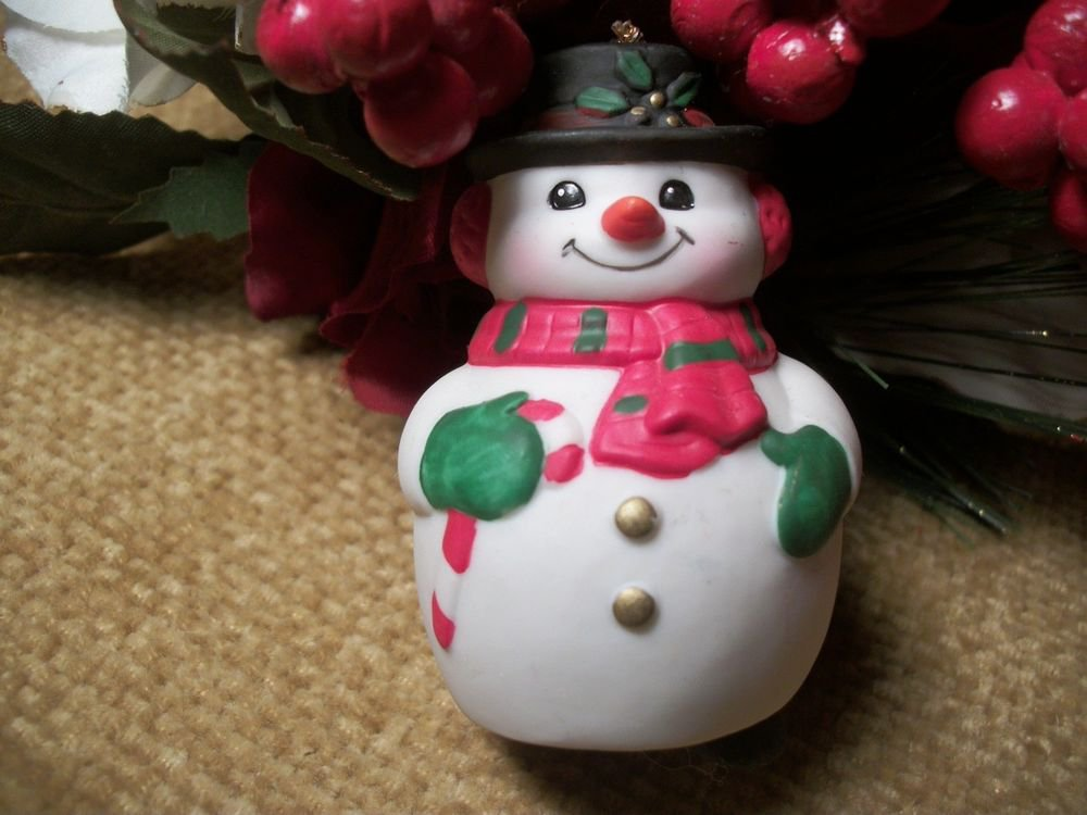 Snowman Bell Christmas Ornament Ceramic Figurine VTG Collectible Russ Berrie
