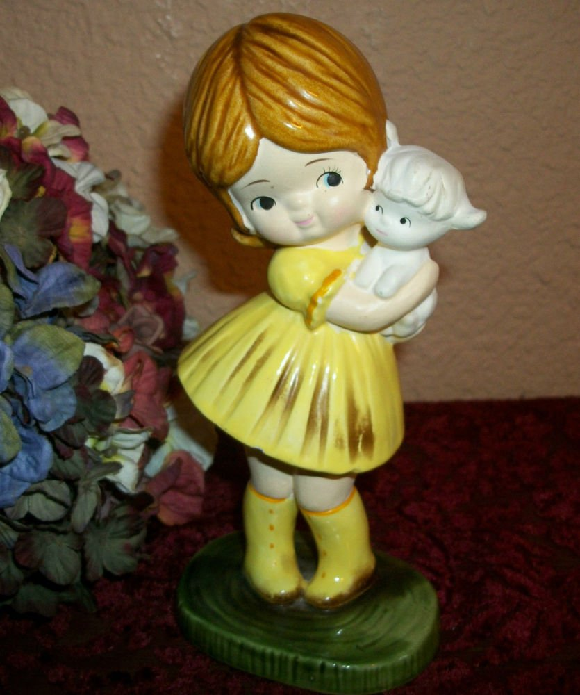 Girl Holding Baby Lamb Hand Painted VTG Figurine Spring Farmhouse Home Decor