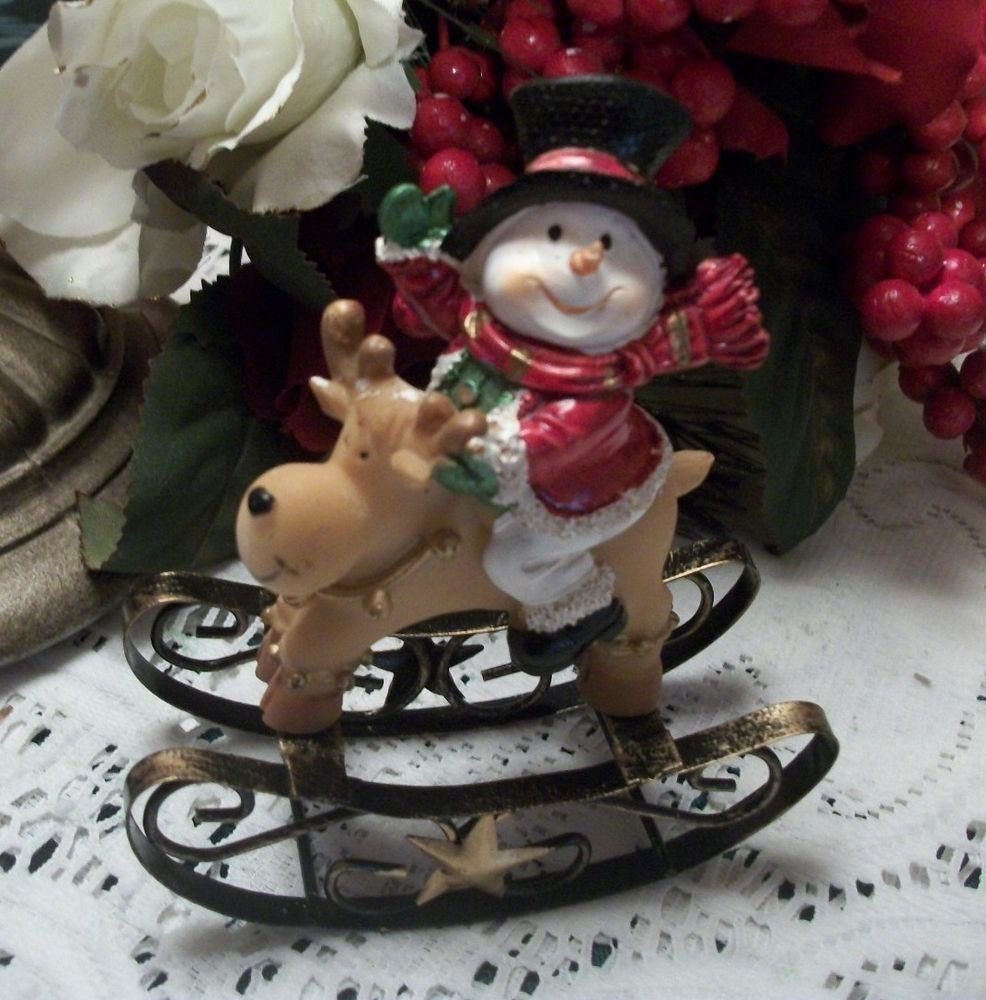 Snowman Riding a Reindeer Rocking Horse Figurine Christmas Winter Decoration