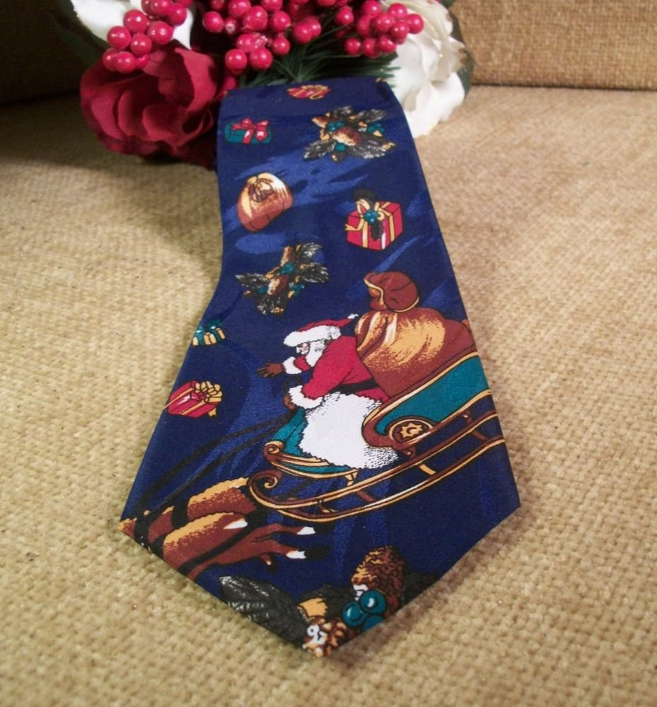 Christmas Necktie by Creative Apparel Group Navy Blue Polyester Santa Sleigh Tie