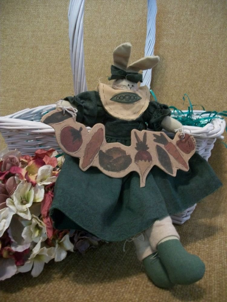 Garden Bunny Rabbit VTG Handcrafted Soft Sculpture Stuffed Animal Home Decor