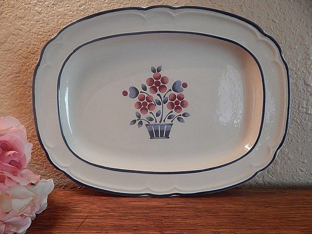 Serving Platter Cumberland Brambleberry Plate Blue and Pink Hearthside Stoneware