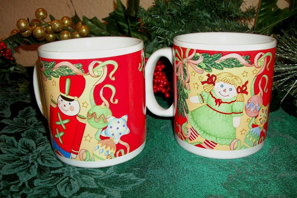 Christmas Mugs Two Ceramic Nutcracker Soldier and Doll Cup VTG Sakura Tableware