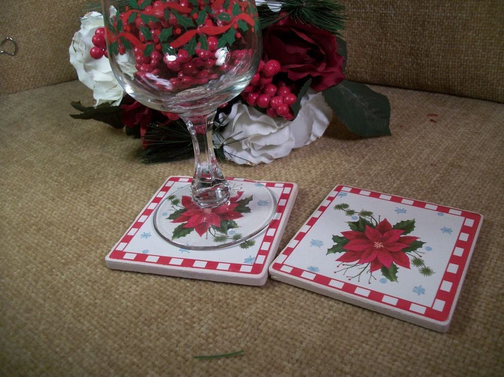Four Christmas Coasters in Wire Caddy Square Ceramic Tiles Red Poinsettia Decal