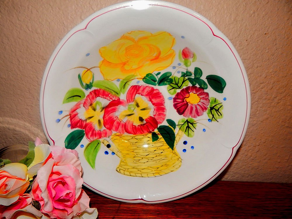 Antique Bowl Eagle Brand Ironstone Handpainted Modern Floral Serving Tableware