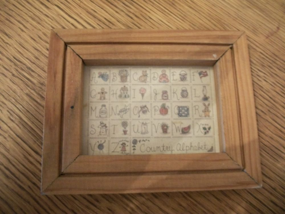 Alphabet Picture Blocks Miniature Wall Hanging Wood Frame VTG Country Home Decor