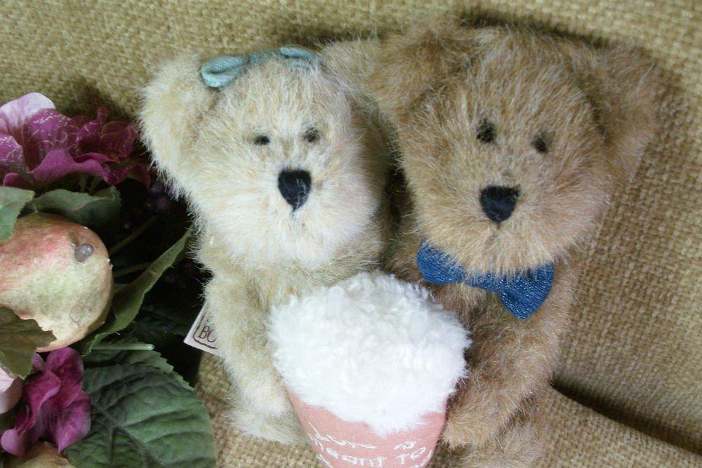 "BOYDS Bearlove Teddy Bears  6"" Plush Stuffed Animals Sharing Soda Retired 903022"