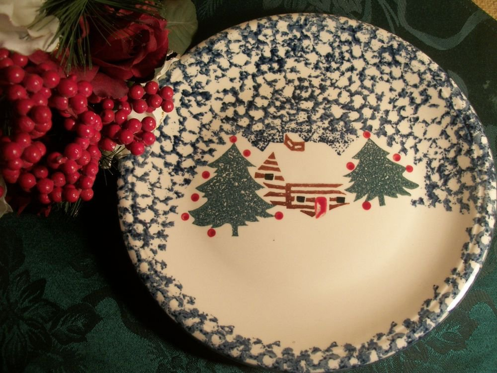 Folk Craft Cabin in the Snow Plate, Christmas Serving Platter Holiday Tableware