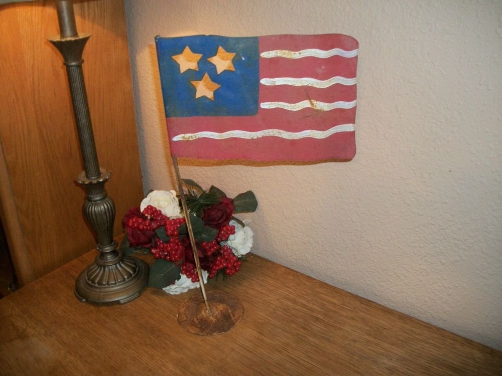 Rustic Metal Flag Indoor Outdoors Red White Blue Stars Stripes Americana Decor