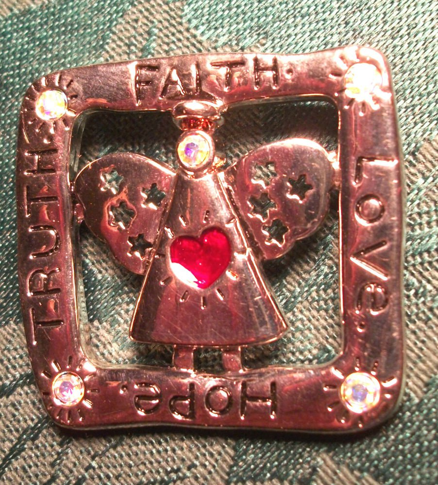Modern Angel Brooch Faith Hope Love Truth Silver Metal Pin with Rhinestones