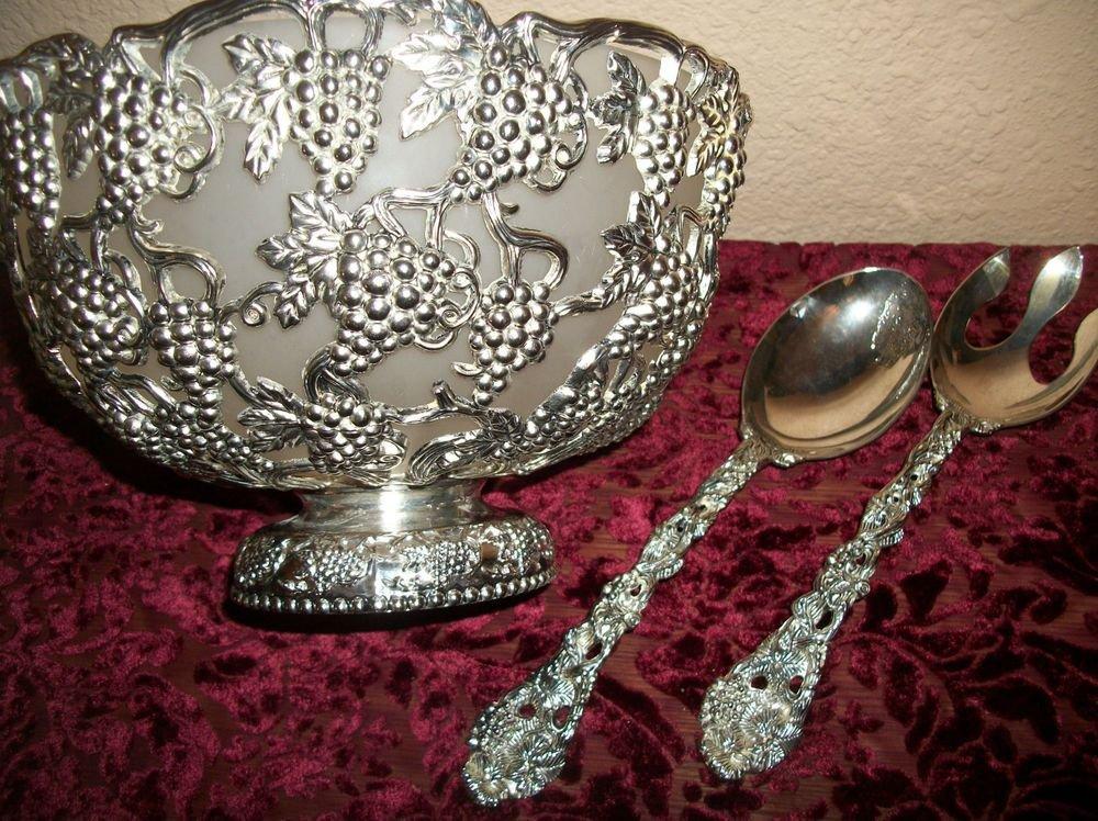 Godinger Silverplated VTG Serving Set Grape Cluster Bowl Fork Spoon Glass Liner