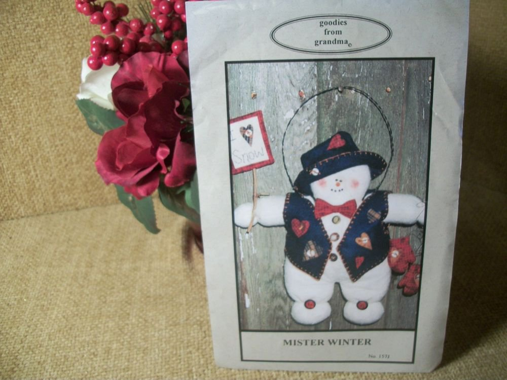 Snowman Christmas Decor VTG Sewing Pattern Mister Winter by Goodies from Grandma