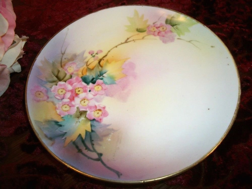 Decorative Plate Hand Painted Cherry Blossoms Nippon Porcelain VTG Collectible