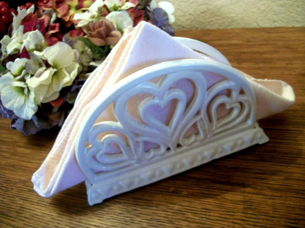 Napkin Holder White Wrougt Iron Hearts Cottage Chic Kitchen Organizer Tableware