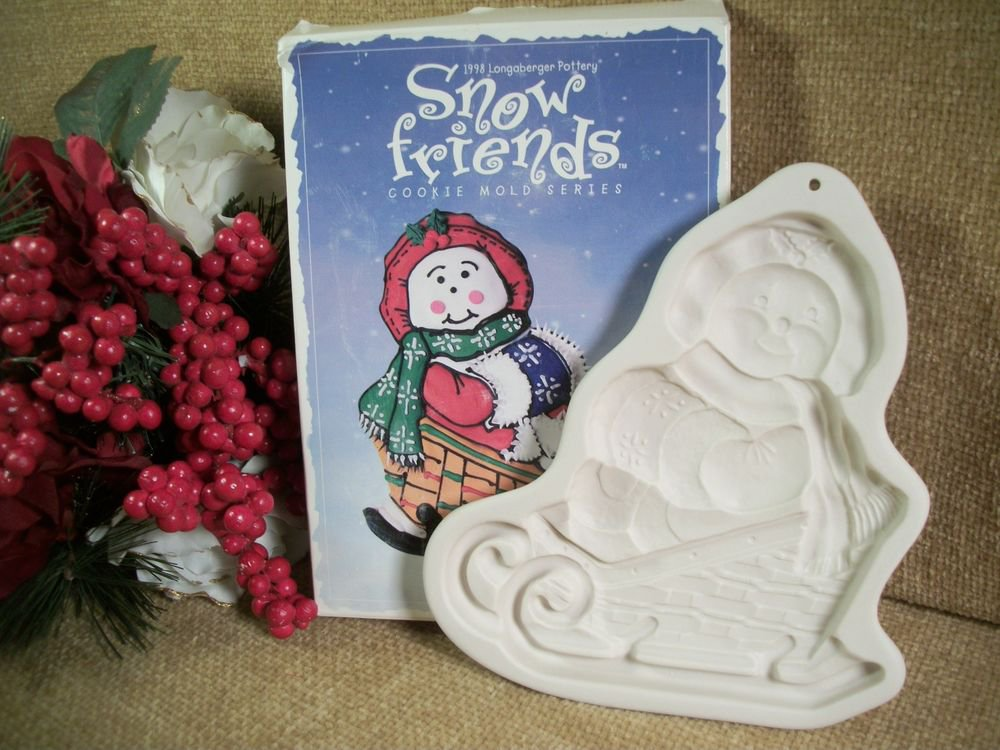 Longaberger Pottery Cookie Mold Snow Friends Sleigh Bells Snowman Christmas 1998