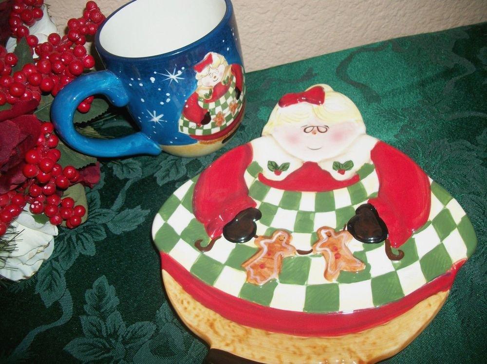 Becca Barton Christmas Plate and Mug Gingerbread Mrs Claus Ceramic Tableware