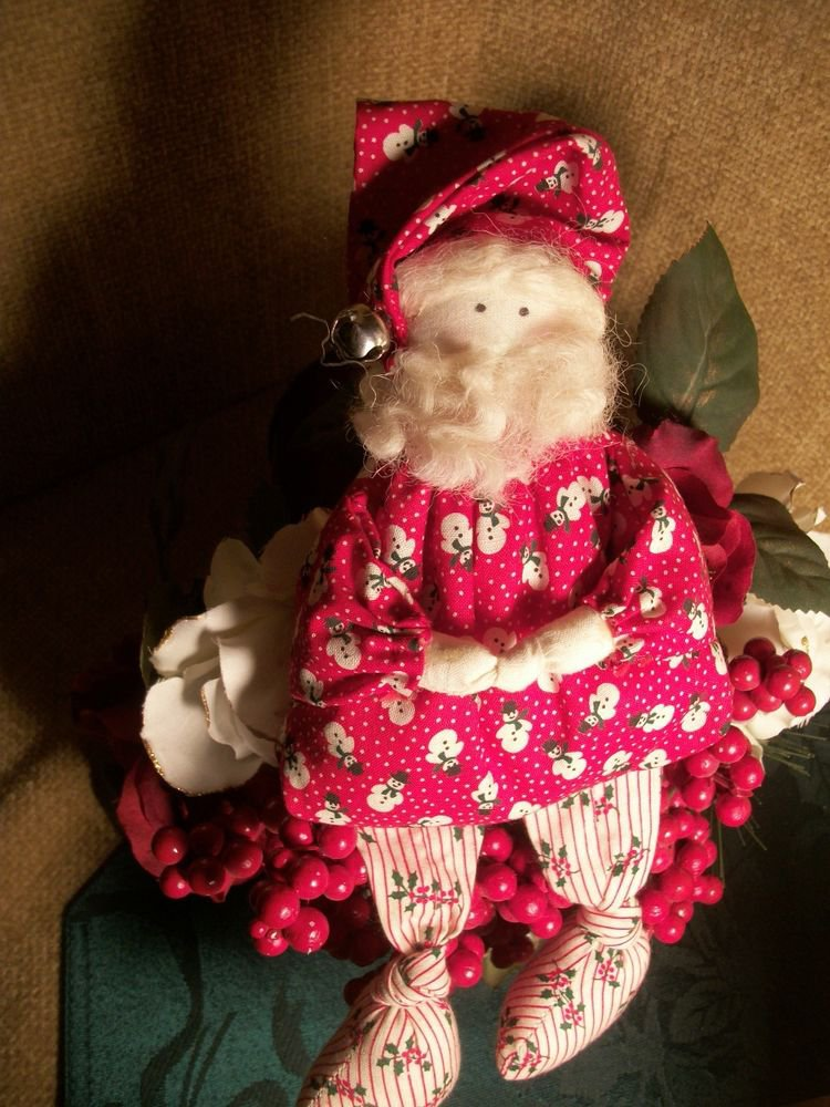 Santa Claus Shelf Sitter Fabric Christmas Doll, Hand Crafted Holiday Decoration