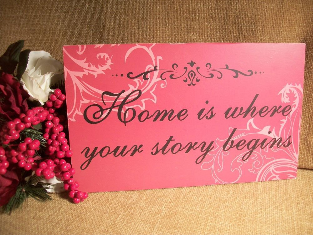 Home is Where Your Story Begins Wood Sign Wall Hanging Black Red Pink Decor