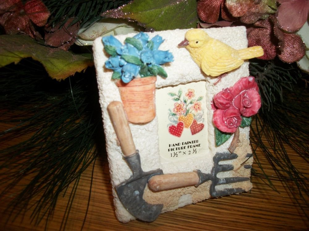 Tiny Portrait Picture Frame Garden Theme Hand Painted Cast Resin Easel Back