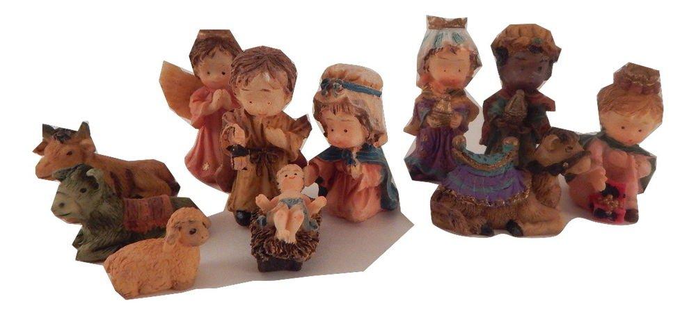 Nativity Set Resin Miniature Figurines Stable VTG Christian Christmas Home Decor