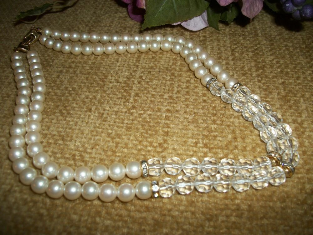 "Necklace White Pearl Beads Clear Faceted Acrylic Beads 18"" Double Strand Jewelry"