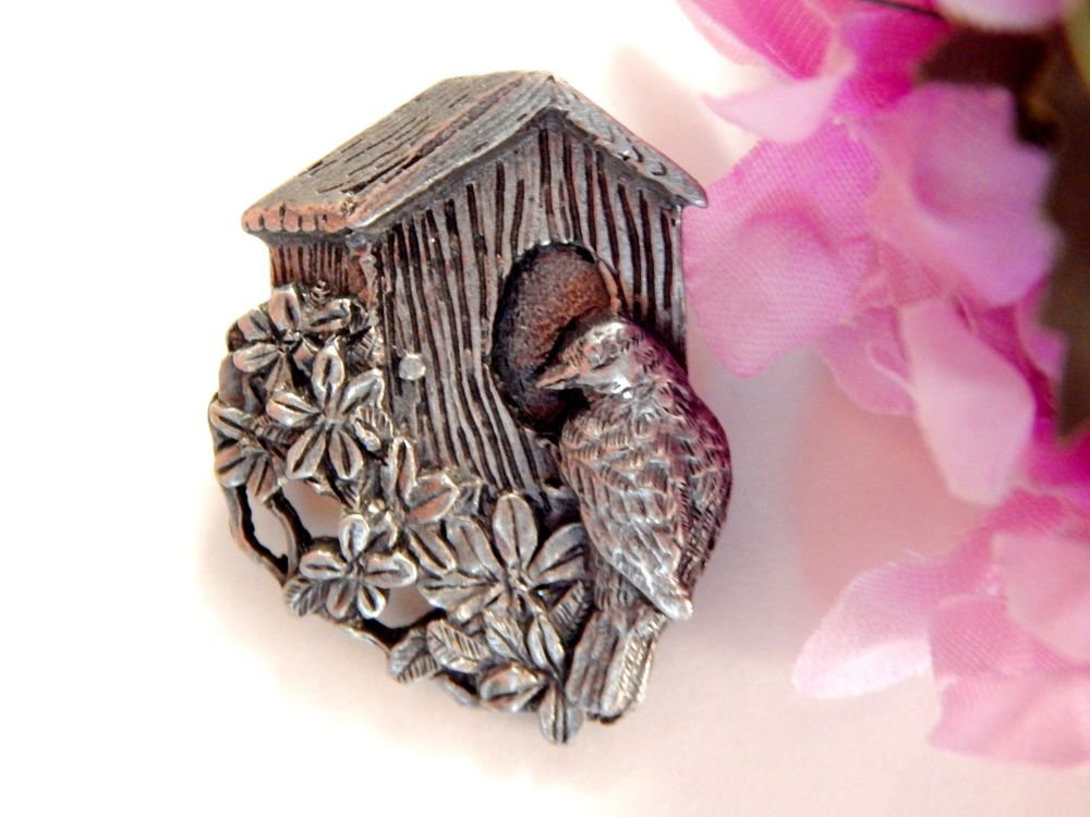 Pewter Bird House Pin Birds and Blooms Limited Edition Brooch 1997 Jewelry