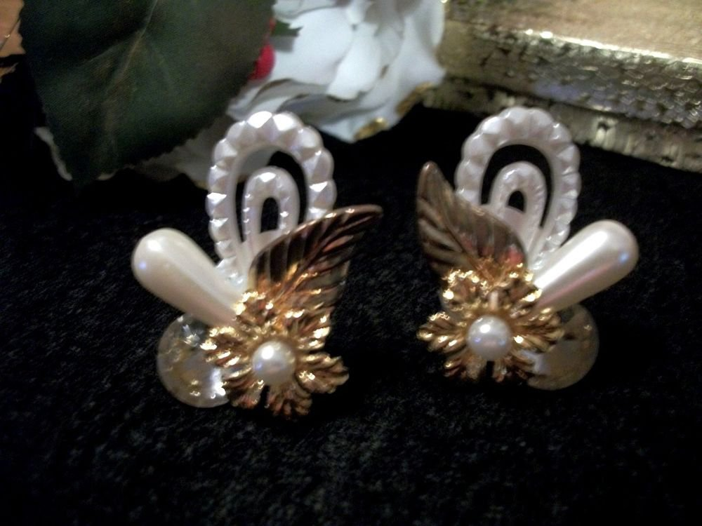 Earrings White Faux Pearl Bead Ornate Clip-On Gold Floral VTG Costume Jewelry