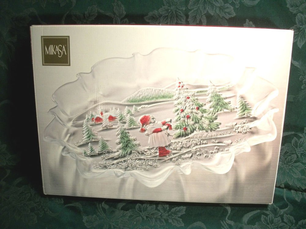 "MIKASA Clear Frosted Glass Tray Christmas Winter Landscape NIB Oval 17"" Platter"