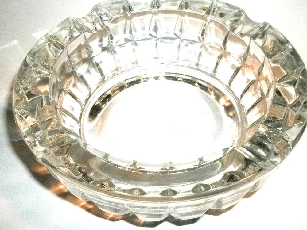 Ash Tray Two Lead Crystal Cut Glass Housewares Home Decor Vintage Tobacciana