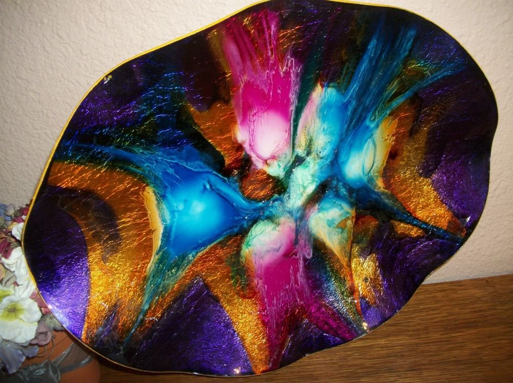 Handpainted Tray Centerpiece Wall Hanging Metallic Colorful Modern Art HomeDecor