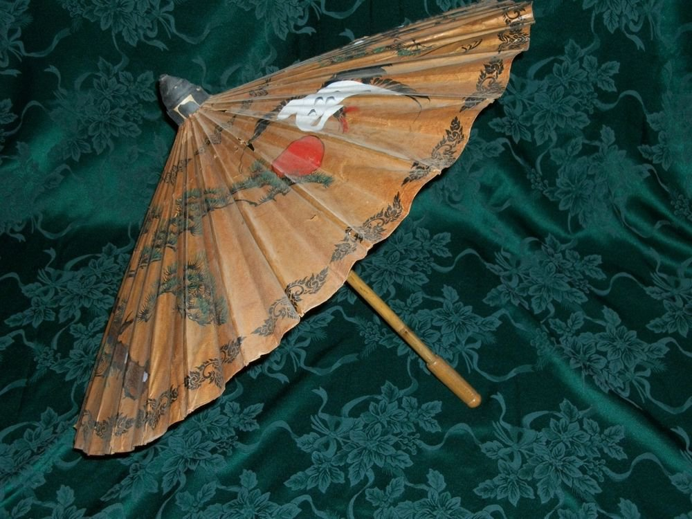 Japanese Bamboo Umbrella Painted Rice Paper Parasol Crane Bonsai Asian Antique