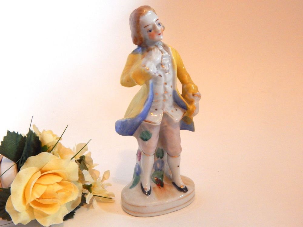 French Provincial Man Porcelain Figurine from Japan Country Cottage Home Deco