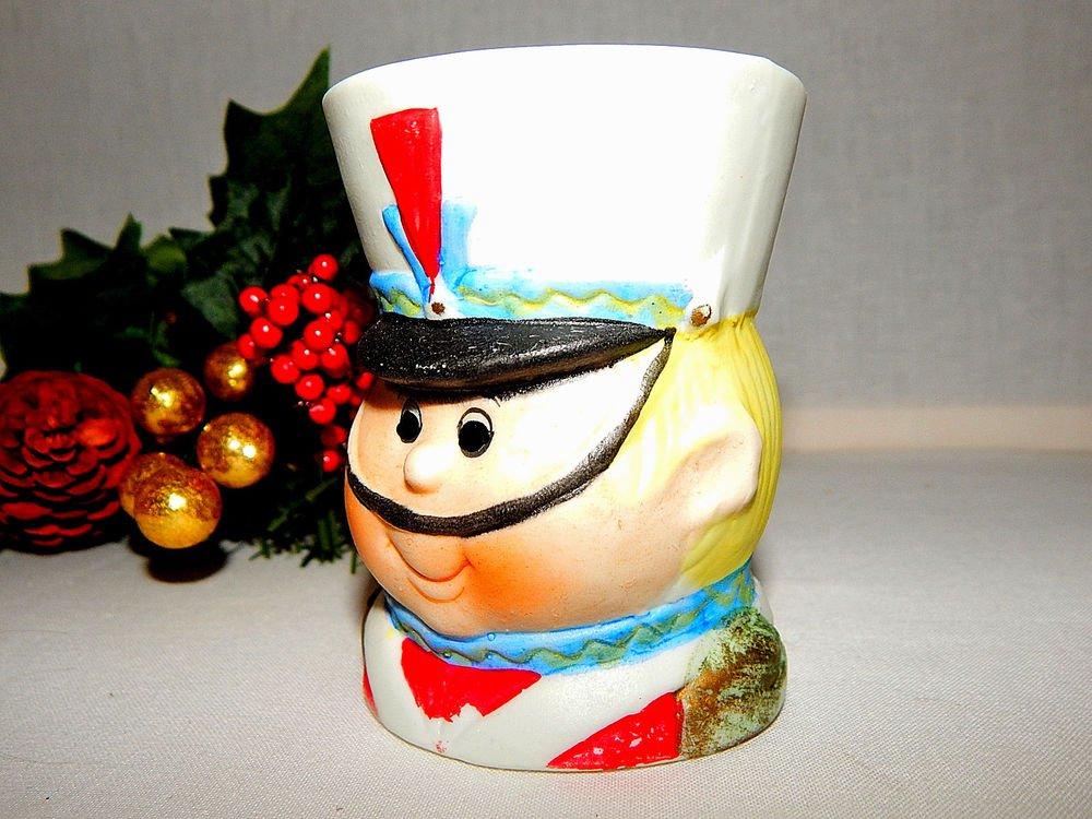 Toy Soldier Cup Vase Jar Planter Dish Jasco Porcelain Bisque VTG Christmas Decor