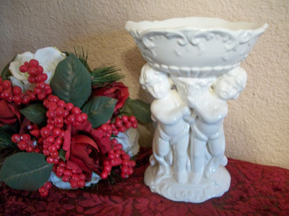 Ceramic Cherubs Pedestal Dish White Angels VTG Candy Soap Potpourri Cache Pot