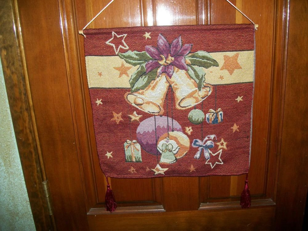 Tapestry Christmas Wall Hanging Banner Red Gold Holiday Bells Angel Decor