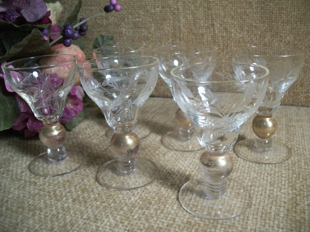 Bar Glasses Aperitif Cordial Liquoir Six VTG Etched Gold Ball Stemware Barware