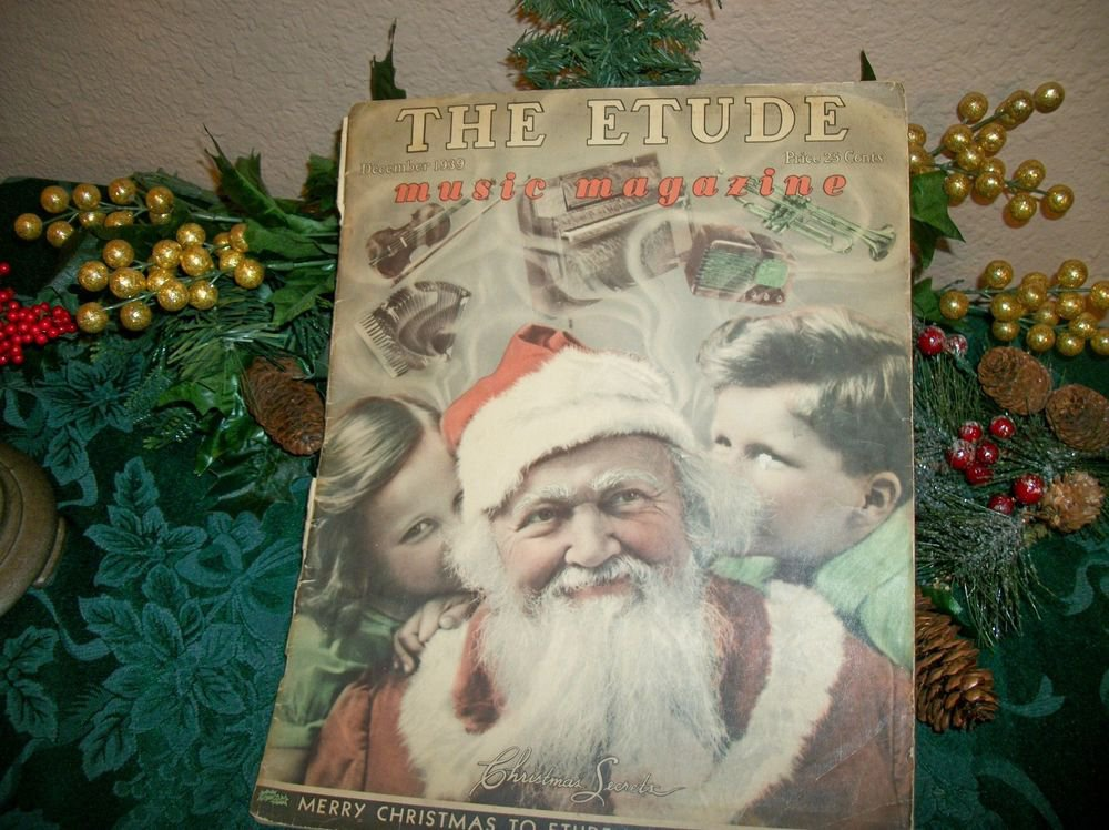 Etude Music Magazine War Era Antique Santa Claus Christmas Rare Dec 1939 Edition