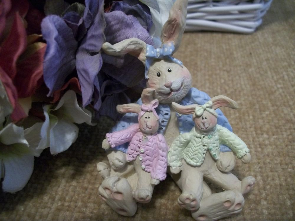 Bunny Rabbit Family Figurine Mother Rabbit with Baby Bunnies Gail West Designs