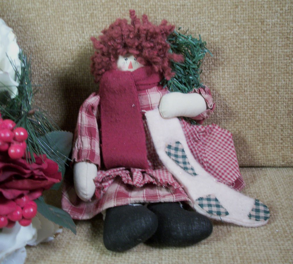 Soft Sculpture Rag Doll Counrty Christmas Girl Raggedy Style Winter Decoration