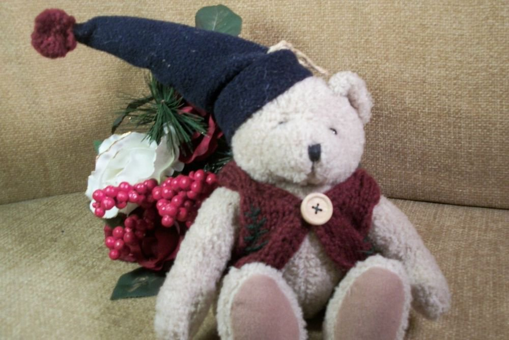Brown Plush Stuffed TEDDY BEAR Winter Home Decor Blue Hat Knitted Red Sweater