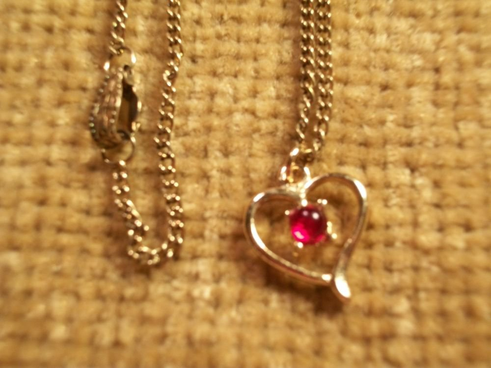 Pendant Open Heart Gold Metal Necklace Faux Ruby VTG Jewelry July Birthstone