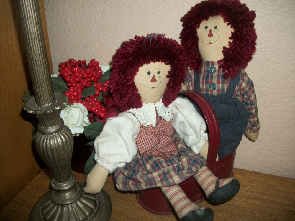Raggedy Ann Style Folk Art Rag Dolls He She Boy Girl Prim Americana Home Decor