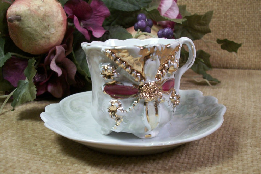 Demitasse Tea Cup Saucer Antique Fine Bone China from Germany Elegant Art Deco