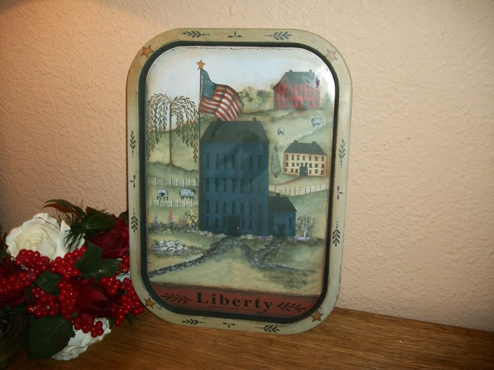 Serving Tray Early American VTG Painted Metal USA Flag Country Farm Home Decor