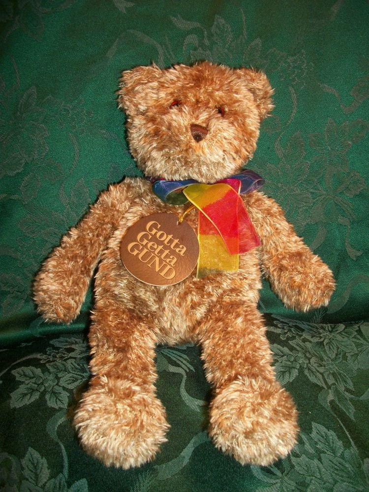 "RARE Gund Bearessence Stuffed Animal 15"" Plush Bear Rainbow Neck Ribbon w/tag"